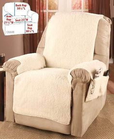 Make your favorite chair more comfortable than ever and protect it from spills with a Fleece Recliner Cover. Fleece Recliner Cover Protector w/ Storage Pockets Soft Warm Comfort in 3 Colors. Recliner Chair Covers, Recliner Slipcover, Sofa Covers, Recliner Armchair, Furniture Slipcovers, Furniture Covers, Slipcovers For Chairs, Dining Chairs, Lazy Boy Recliner