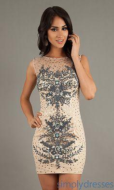Short Bead Embellished Sleeveless Dress at SimplyDresses.com