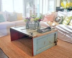 #Recycle an old Door that can be found at a #habitatReStore and turn it into a coffee Table