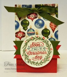 This gift bag uses the new Cup of Cheer stamp set and the Home for Christmas Designer Series Paper. The image was inked with Stampin Write Markers.