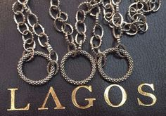 """LAGOS Sterling Silver Signature linked Chain 18K Gold Necklace 36"""" NEW $550 #Lagos"""