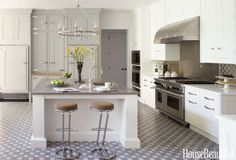 Stainless steel accents — not to mention an eye-catching floor — take designer Penny Drue Baird's pa... - Durston Saylor