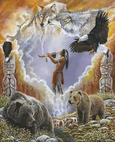 Native American Art Calling The Totems by Syndi Michael. via desert dweller