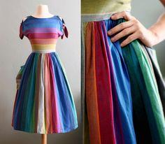 "retro rainbow dress by ""flour vintage"" Vintage Outfits, Classy Outfits, Vintage Dresses, Vintage Fashion, Vintage Clothing, Miss Frizzle, Vestidos Vintage, Vintage Mode, Retro Vintage"