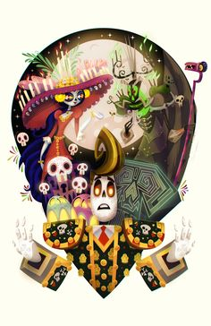"""The book of life"" by Carlos Lerma. Illustrations, Illustration Art, Book Of Life Movie, Sugar Skull Design, Cartoon Art Styles, A Day In Life, Cultura Pop, Animation Film, Skull Art"