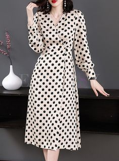 Elegant Polka Dot V-neck Gathered Waist A Line Dress - . - Elegant Polka Dot V-neck Gathered Waist A Line Dress – # Source by - Modest Dresses, Simple Dresses, Elegant Dresses, Sexy Dresses, Cute Dresses, Casual Dresses, Fashion Dresses, Dresses For Work, Summer Dresses