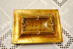 Vintage Ashtray Freeman McFarlin Gold Leaf Brown by PanchosPorch