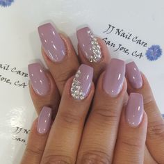 JJ Nail Care - San Jose, CA, United States. Shellac nail, coffin shape with rhinestone design by Linh.