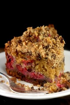 #Raspberry Brown Butter Pecan Chocolate Chip Streusel #Cake