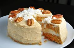 Carrot Cake with Coconut-Cashew Cream (Gluten-free and Sugar-free)