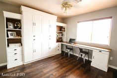 Learn how to build a gorgeous and functional desk addition onto a Murphy Bed with this tutorial and the free printable plans!