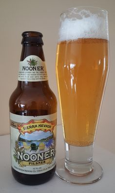 Sierra Nevada Nooner is a 5.2 ABV German Pilsener.  Appearance is clear golden yellow and the nose floral and grassy malt.  The taste is similar and what you'd expect out of a German Pils, grassy earthy malt finishing with a nice hoppy bitter bite finish.  Mouthfeel and texture are moderate and crisp.  Sierra Nevada is always top notch and they did well giving the west coast hop treatment to a German style pils.  Definitely one to try during the spring/summer months.