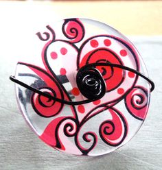 Heart and Swirls Button Wire Wrapped Ring by LaleePops82 on Etsy