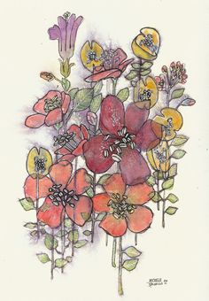 """Original Watercolor and Ink Illustration - Flowers from the Field - 9""""x12"""" - Spring Flowers Art"""