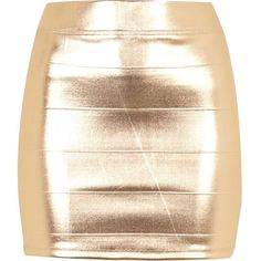 River Island Gold Foil Mini Skirt ($29) ❤ liked on Polyvore