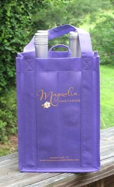 Wine packaging custom printed carriers Re Usable Fabric totes in 23 fabric colors printed 2 colors 2 sides and pulp shipping boxes paper wine bags and plastic SHIPPER KITS IN EVERY BOTTLE SIZE