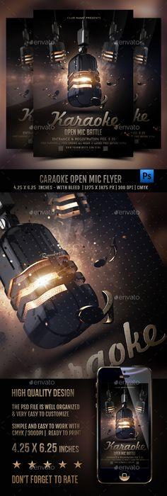 Karaoke Open Mic Battle Flyer — Photoshop PSD #flyer #karaoke night • Download ➝ https://graphicriver.net/item/karaoke-open-mic-battle-flyer/19406591?ref=pxcr