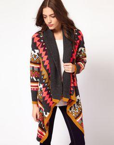 Intarsia knit draped cardigan