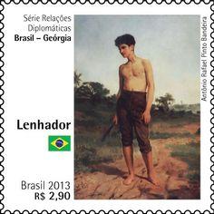 Emissão Especial – Série relações Diplomáticas: Brasil – Geórgia Artista: Lenhador: Antônio Rafael Pinto Bandeira Pescador em uma Camisa Vermelha: Niko Pirosmani Data: 26 de maio de 2013