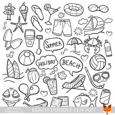 Beach Day Holidays Travel Doodle Icons Clipart Scrapbook Set By LittleFoxDigitals On Etsy