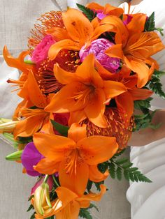 tropical wedding flower bouquet, bridal bouquet, wedding flowers, add pic source on comment and we will update it. www.myfloweraffair.com can create this beautiful wedding flower look.