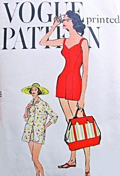 1950s One Piece Bathing Suit Swimsuit and Beach Cover Up Coat Pattern Vogue 9484 Figure Flattering Swimming Suit With Beachcoat Bust 32 Vintage Sewing Pattern