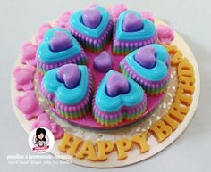 Heart to heart design jelly Mousse, Purple Cakes, Jelly Cake, Jello, Tart, Cake Decorating, Pastel, Desserts, Inspiration