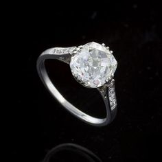 Antique Platinum 3.37 Carat Old Mine Brilliant Cut Diamond engagement Ring. Available Exclusively at Macklowe Gallery.