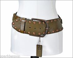 LINEA PELLE Keyhole Wide Leather Riveted Belt - S- Khaki Green (: