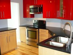 Red Small Kitchen Design