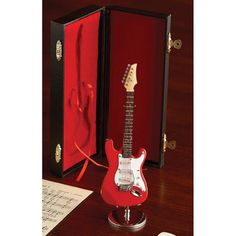 Red Electric Guitar Miniature Replica W Case Musical Music Instrument Decor Gift *** Check out this great product.