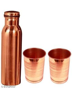 Bottles & Jugs  Water Bottle  & Glass (Pack Of 3) Material: Pure Copper Capacity:  Bottle - 950 ml , Glass - 250 ml. Description:  It Has 1 Piece Of Water Bottle & 2 Pieces Of Glass  Free Mask    Pattern : Metallic Finish Sizes Available: Free Size *Proof of Safe Delivery! Click to know on Safety Standards of Delivery Partners- https://ltl.sh/y_nZrAV3  Catalog Rating: ★4 (489)  Catalog Name: Free Mask Elite Useful Pure Copper Bottle & Jugs, glasses Vol 2 CatalogID_307048 C130-SC1124 Code: 536-2302687-