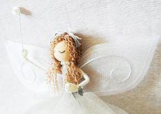 Christmas decoration fairy - Fairy Tree Topper - Rose -  guardian angel - OOAK art doll - Fairy decoration