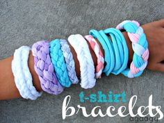 t-shirt bracelet{kid craft monday} A girl and a glue gun - Teen Shirts - Ideas of Teen Shirts - t-shirt bracelet keep the kids busy this summer and upcycle old t-shirts with this quick and easy jewelry craft Fun Crafts For Kids, Summer Crafts, Crafts To Do, Easy Crafts, T Shirt Crafts, Teen Girl Crafts, Teen Diy, Fun Arts And Crafts, Cute Diy Projects