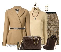 """""""Camel, Beige and Brown"""" by imclaudia-1 ❤ liked on Polyvore featuring Oscar de la Renta, Love Moschino, Burberry, Chanel, MICHAEL Michael Kors, Lindsay Vallan, Emporio Armani and Stephanie Kantis"""