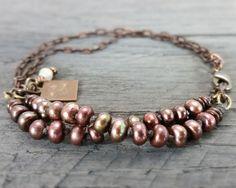 Double strand bronze pearl bracelet. $29. Chickandcharming.etsy.com