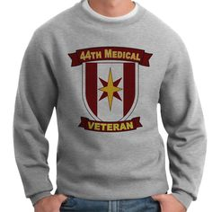 Show your 44th Medical Brigade Veteran pride and stay warm with this great-looking and ultra-comfortable crewneck sweatshirt available exclusively from VetFriends. This classic fit 10oz 100% Spun Polyester Fleece sweatshirt features banded sleeves and bottom hem. Designed, Printed & Sublimated in the USA -Fabric imported.
