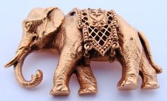1880's Tiffany & Co. 18K Yellow Gold Indian Elephant Pin