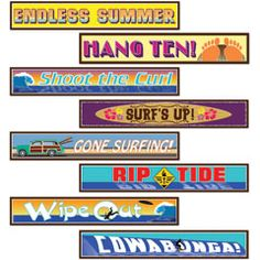 These Surfer Street Sign Cutouts are two-sided surf signs that feature vibrant scenes. Luau Party Supplies, Luau Theme Party, Summer Party Themes, Summer Pool Party, Beach Themes, Beach Party, Party Ideas, Summer Surf, Theme Ideas