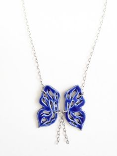 handmade porcelain jewelry butterfly necklace in beautiful royal glaze on Etsy, $85.00