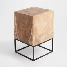 Zara Home wood side table Zara Home, Recycled Furniture, Home Decor Furniture, Furniture Design, Wood Stool, Wood Table, Steel Furniture, Industrial Furniture, Coffee And End Tables