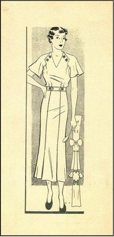 1930s Ladies Dress With Interesting Neck Detail Sewing Pattern - Anne Adams Mail Order Pattern #4292