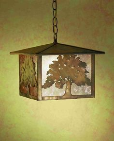 12Sq Oak Tree Lantern Pendant