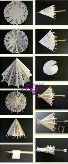 Everything used to make these can be bought at a dollar store. Small paper doilies wood skewers thin ribbon and some beads. Doilies Crafts, Paper Doilies, Diy Paper, Paper Art, Paper Crafts, Origami Paper, Diy And Crafts, Arts And Crafts, Papier Diy