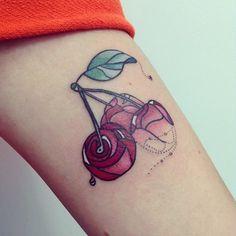 Lovely cherries by Alisa Tesla. fruit tattoos