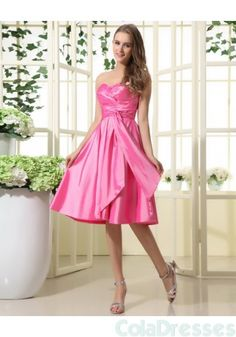 Sweetheart Tea Length Taffeta Ruffle Bridesmaid Dress - Bridesmaid Dresses - Wedding Party Dresses