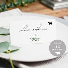 Wedding Place Card Printable, Place Card Template, Meal Choice Selection, Name, … Wedding Table, Our Wedding, Wedding Menu, Wedding Favours, Wedding Ideas, Wedding Name Cards, Wedding Seating Cards, Place Card Template, Menu Template