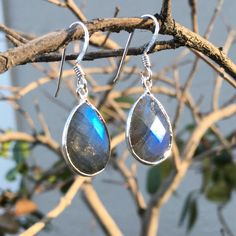 Sterling Silver Faceted Labradorite Pear Drop Dangle Earrings by SparkleNJade on Etsy https://www.etsy.com/listing/257936179/sterling-silver-faceted-labradorite-pear