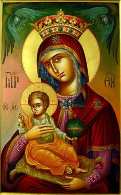 Orthodox Way of Life Religious Images, Religious Icons, Religious Art, Byzantine Icons, Byzantine Art, Blessed Mother Mary, Blessed Virgin Mary, Hail Holy Queen, Greek Icons