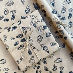 Handprinted 100% sustainable seashell wrapping paper